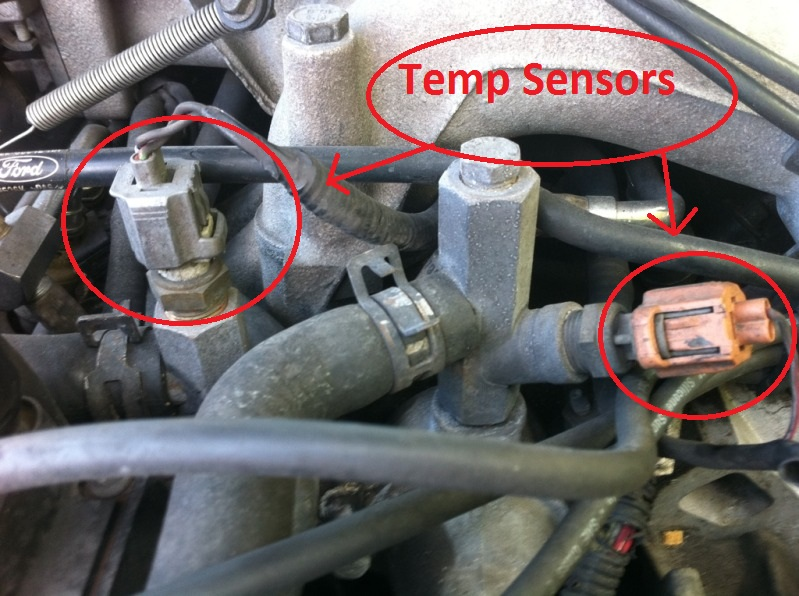D B on Mustang Coolant Temperature Sensor Location