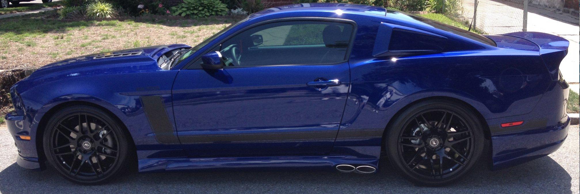 Black Strips or White Strips on Deep Blue Impact  Mustang Evolution