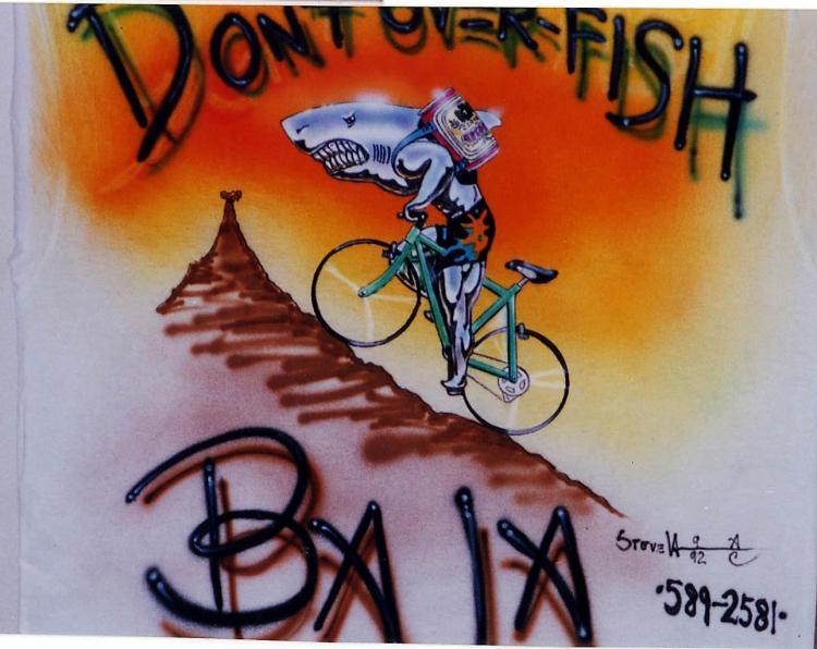 Airbrush T shirt Chrome Shark Back 1992