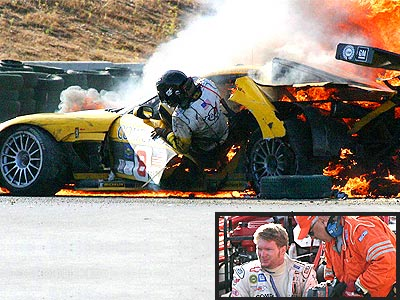 Dale Earnhardt Jr's worst wreck ever. He was almost burned to death