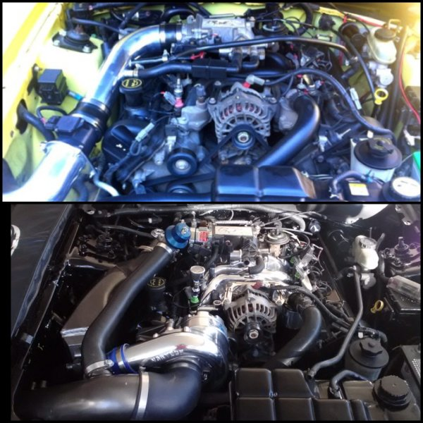Engine bay when I bought it... Engine bay now. :D
