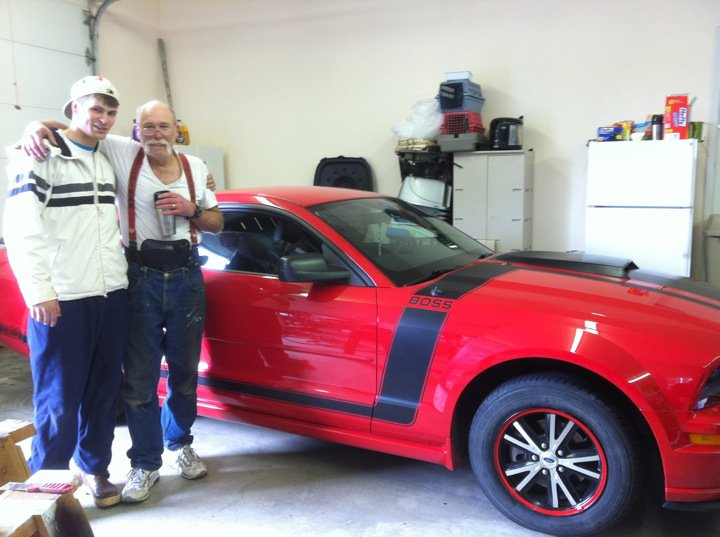 Grandpa and i after we finished painting the rims