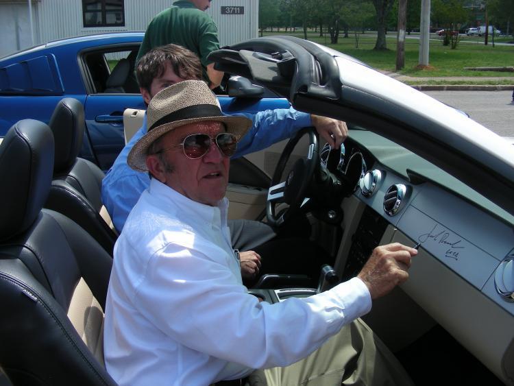 Jack Roush signing my Mustang's dash