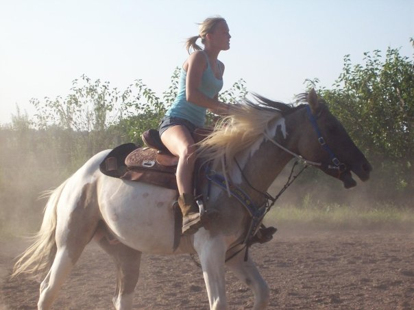 me riding my three year old colt gelding Chace