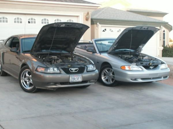 My 02 mustang gt, and my friends 98 gt