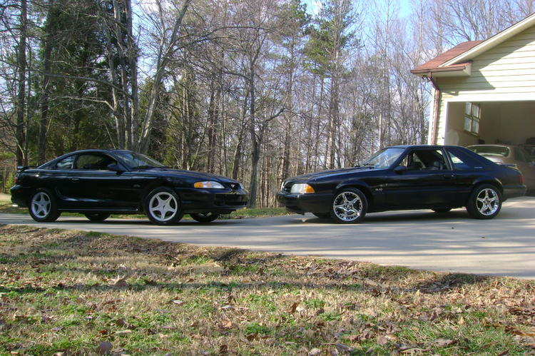 My 97 with my cousins third Mustang, 1990 LX 5.0L