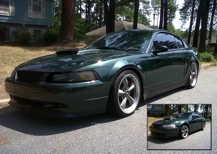 My Bullitt photoshoped the way I want it. My buddy lowered it, made the rims a tad bigger, shaved door handle and emblems, painted the mirror body color, pony delete kit and darkened the headlights.