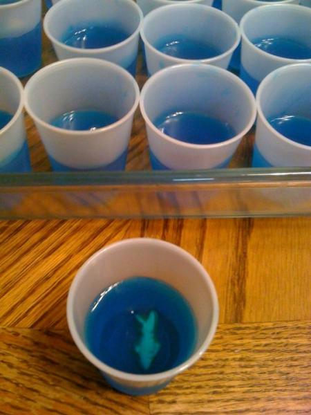 Shark jello shots that I made for my Shark Week party. Strong and yummy.