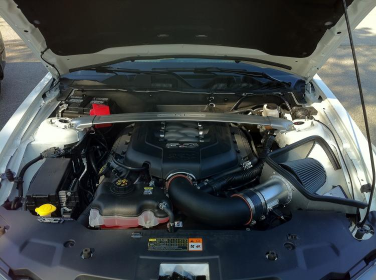 under the hood. Aftermarket Steeda CAI and SCT tuned ECU