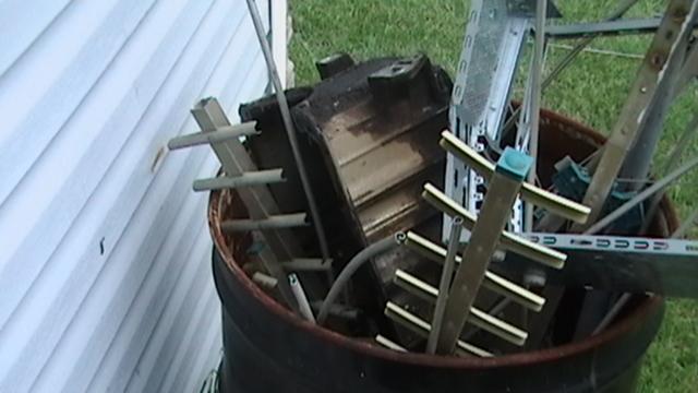 Where the pan belongs. scrap barrel